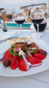 Feta combined with fruits, vegetables and wine
